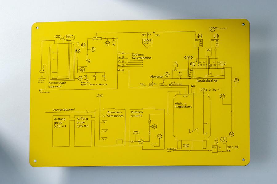 Tableau de sécurité et d'éclairage rotatif gravé dans du matériel de gravure TroPly