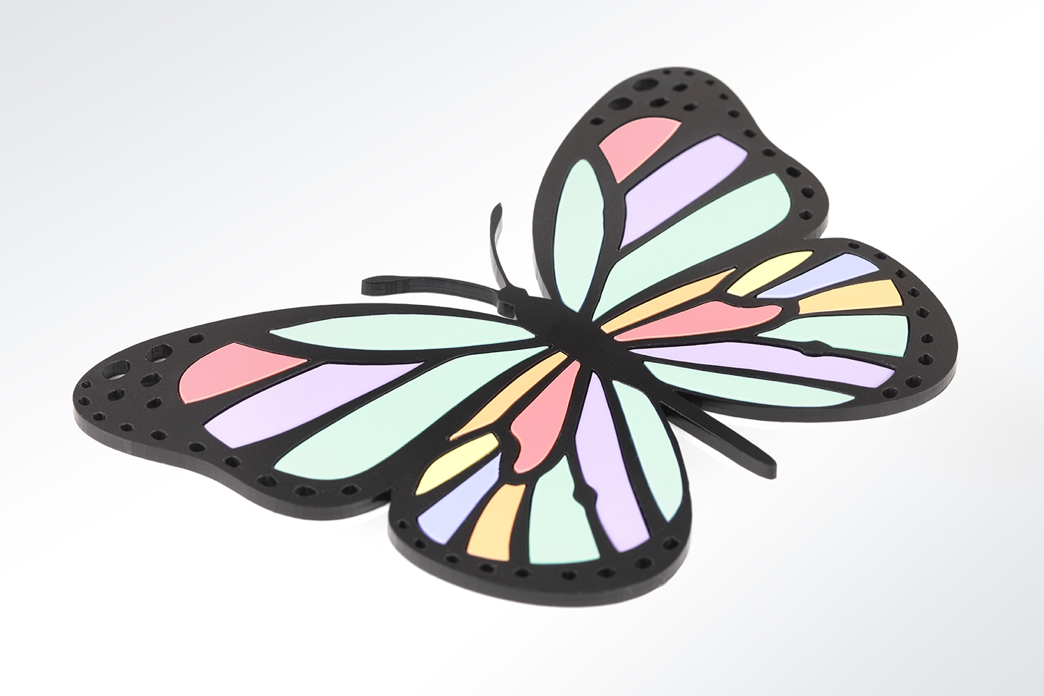 pastel acrylic glass butterfly