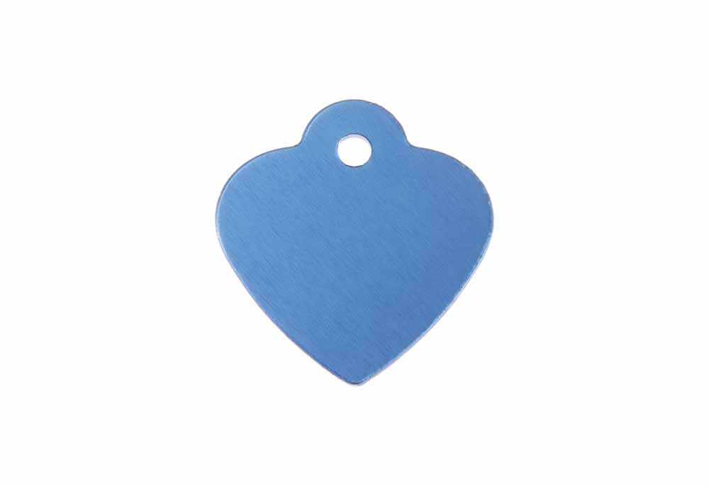 "Aluminum Pet Tag, Heart w/ Loop, Blue - Small 1"" x 1"""