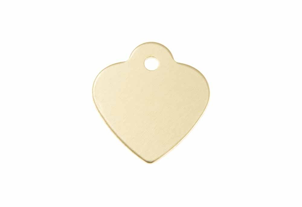 "Aluminum Pet Tag, Heart w/ Loop, Gold - Small 1"" x 1"""