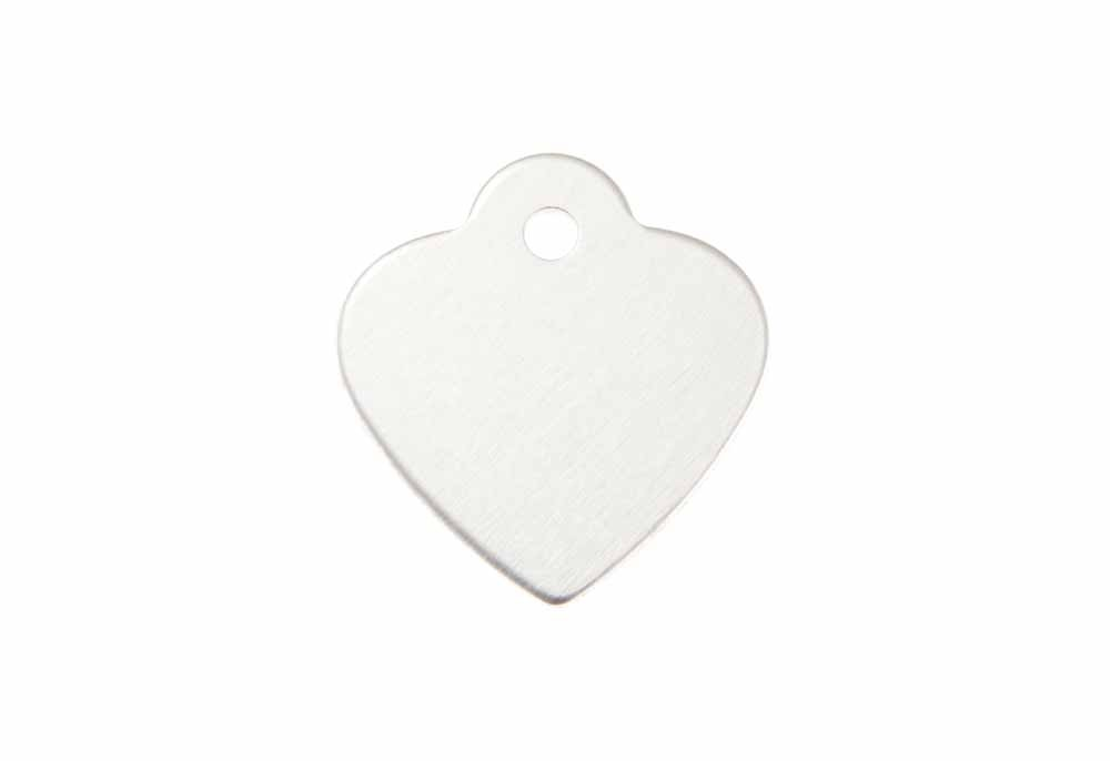 "Aluminum Pet Tag, Heart w/ Loop, Silver - Small 1"" x 1"""