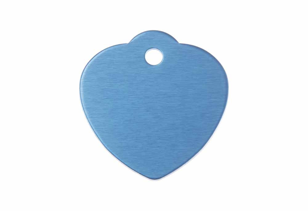 Aluminum Pet Tag, Heart w/ Loop, Blue - Large 1.2'' x 1.25""