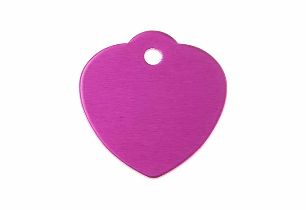 "Aluminum Pet Tag, Heart w/ Loop, Pink - Large 1.2"" x 1.25"""