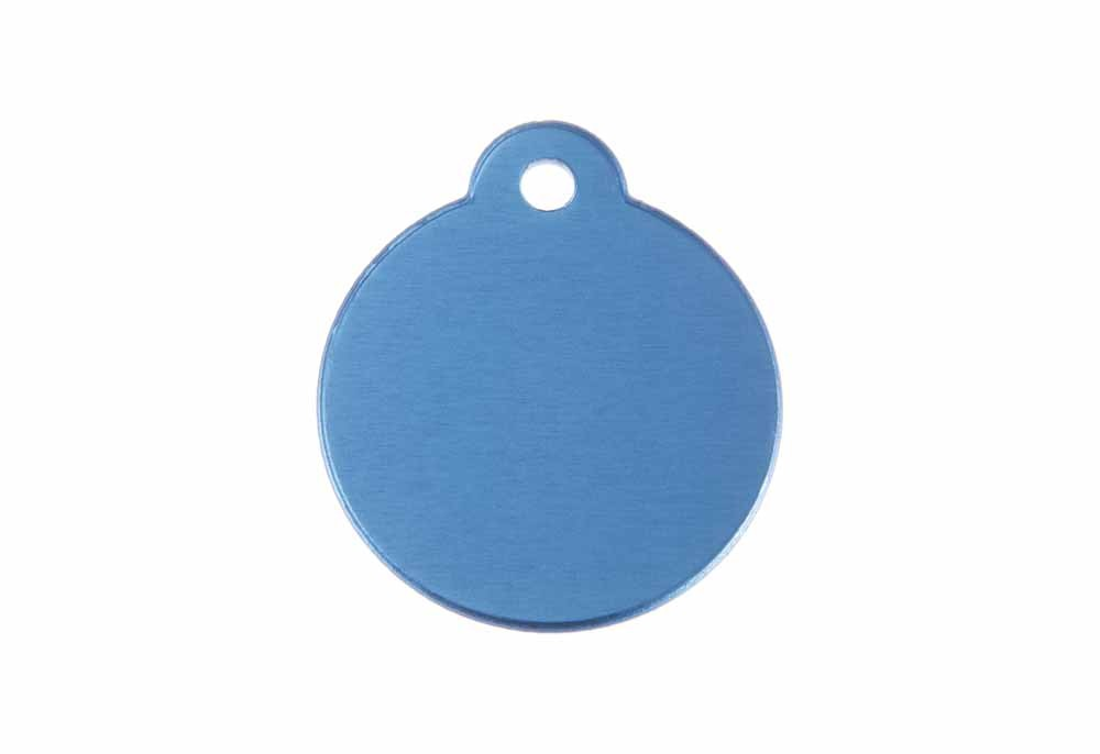Aluminum Pet Tag, Circle w/ Loop, Blue - 1.06'' x 1.06''