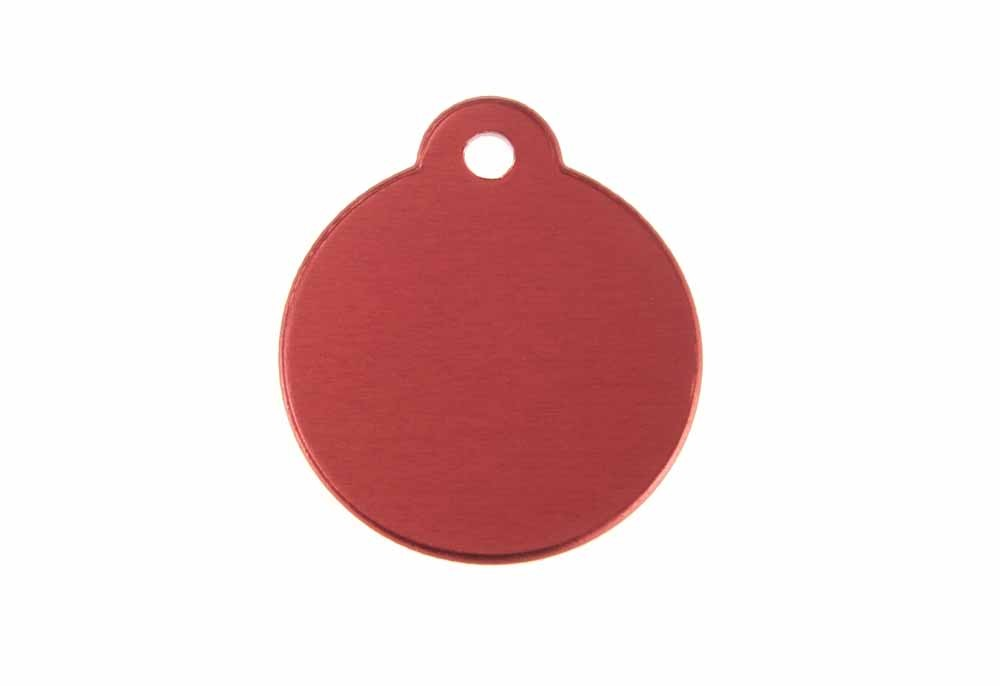 Aluminum Pet Tag, Circle w/ Loop, Red - 1.06'' x 1.06''