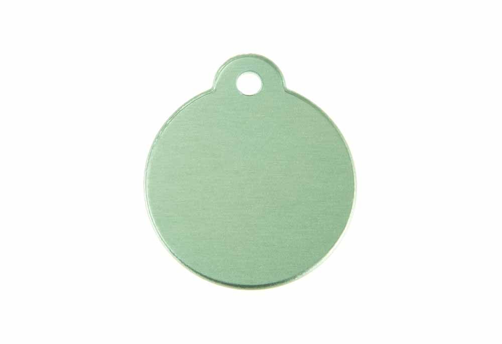 Aluminum Pet Tag, Circle w/ Loop, Green - 1.06'' x 1.06''