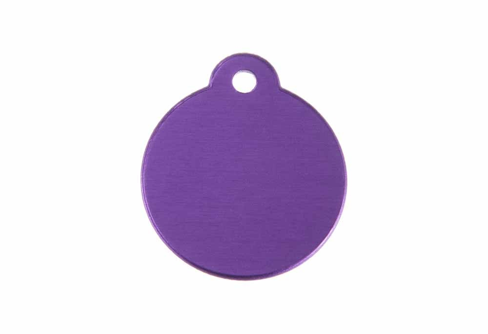 Aluminum Pet Tag, Circle w/ Loop, Purple - 1.06'' x 1.06''