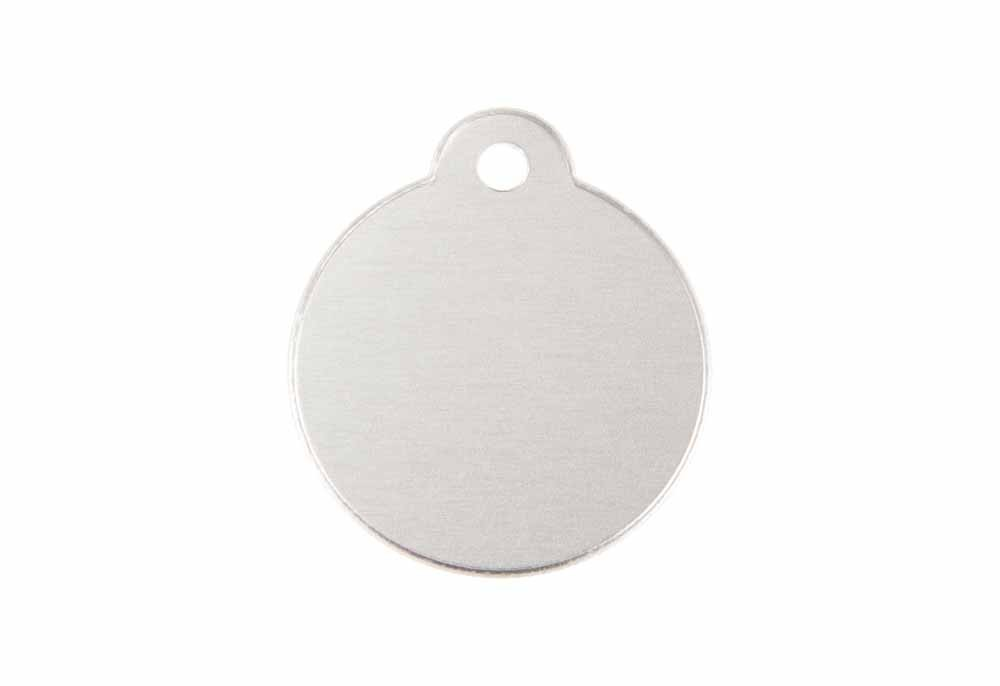 Aluminum Pet Tag, Circle w/ Loop, Silver - 1.06'' x 1.06''