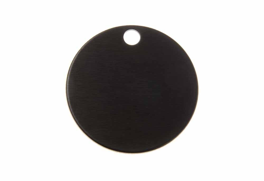 Aluminum Pet Tag, Circle, Black - Large 1.25'' x 1.25''