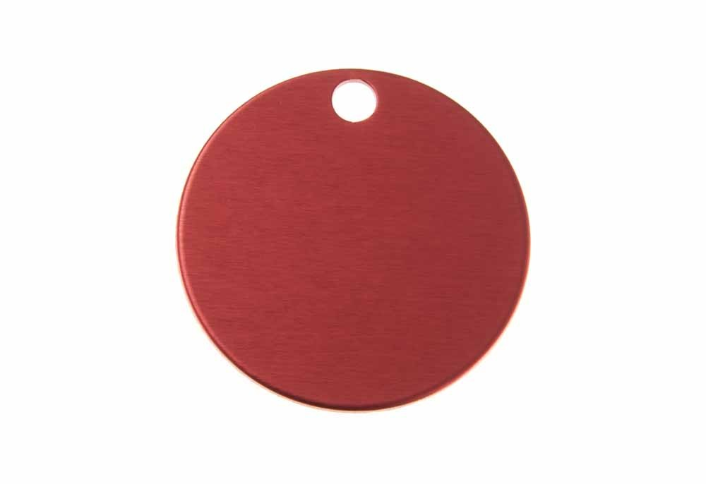 Aluminum Pet Tag, Circle, Red - Large 1.25'' x 1.25''