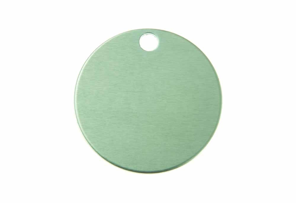 Aluminum Pet Tag, Circle, Green - Large 1.25'' x 1.25''