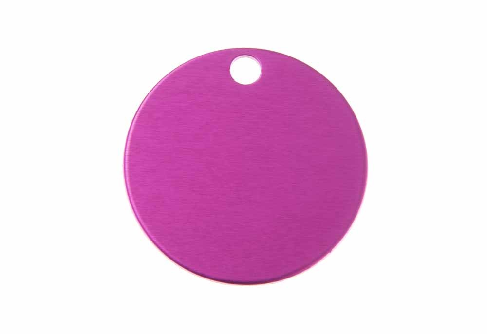 Aluminum Pet Tag, Circle, Pink - Large 1.25'' x 1.25''