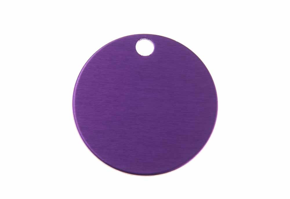 Aluminum Pet Tag, Circle, Purple - Large 1.25'' x 1.25''