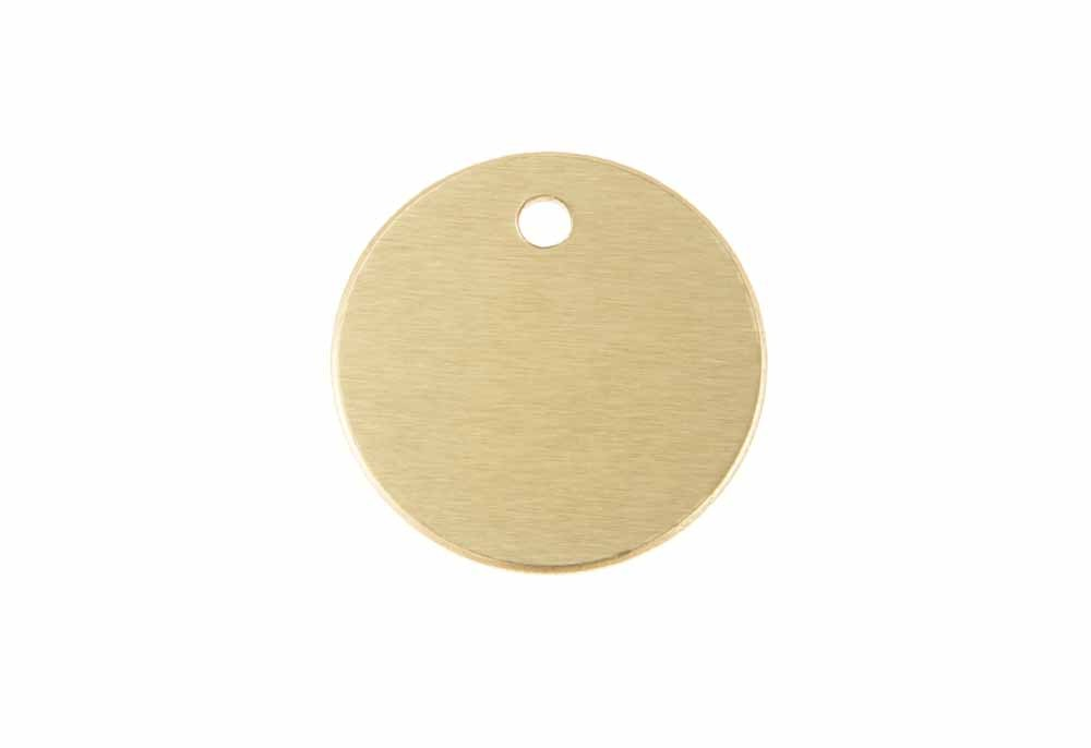 Aluminum Pet Tag, Circle, Gold - Small 1'' x 1''