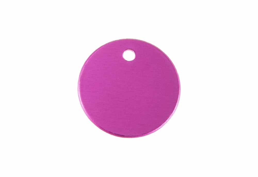Aluminum Pet Tag, Circle, Pink - Small 1'' x 1''