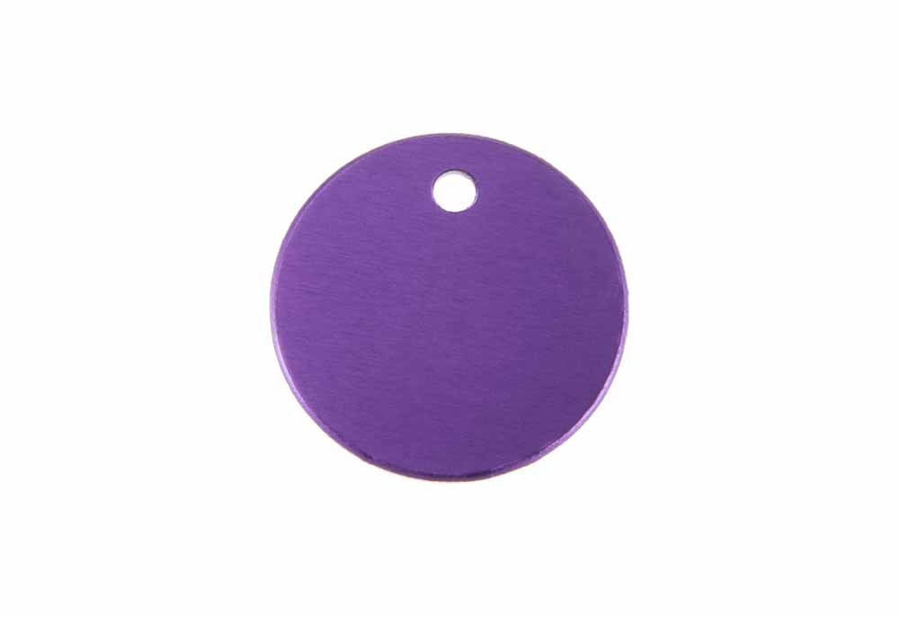 Aluminum Pet Tag, Circle, Purple - Small 1'' x 1''