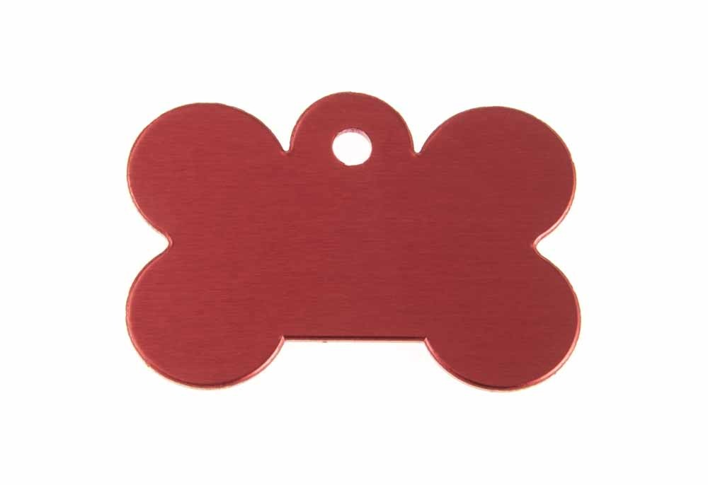 "Aluminum Pet Tag, Bone, Red - Large 1.57"" x 1.1"""