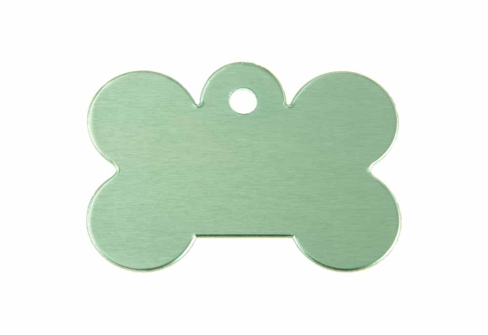 "Aluminum Pet Tag, Bone, Green - Large 1.57"" x 1.1"""