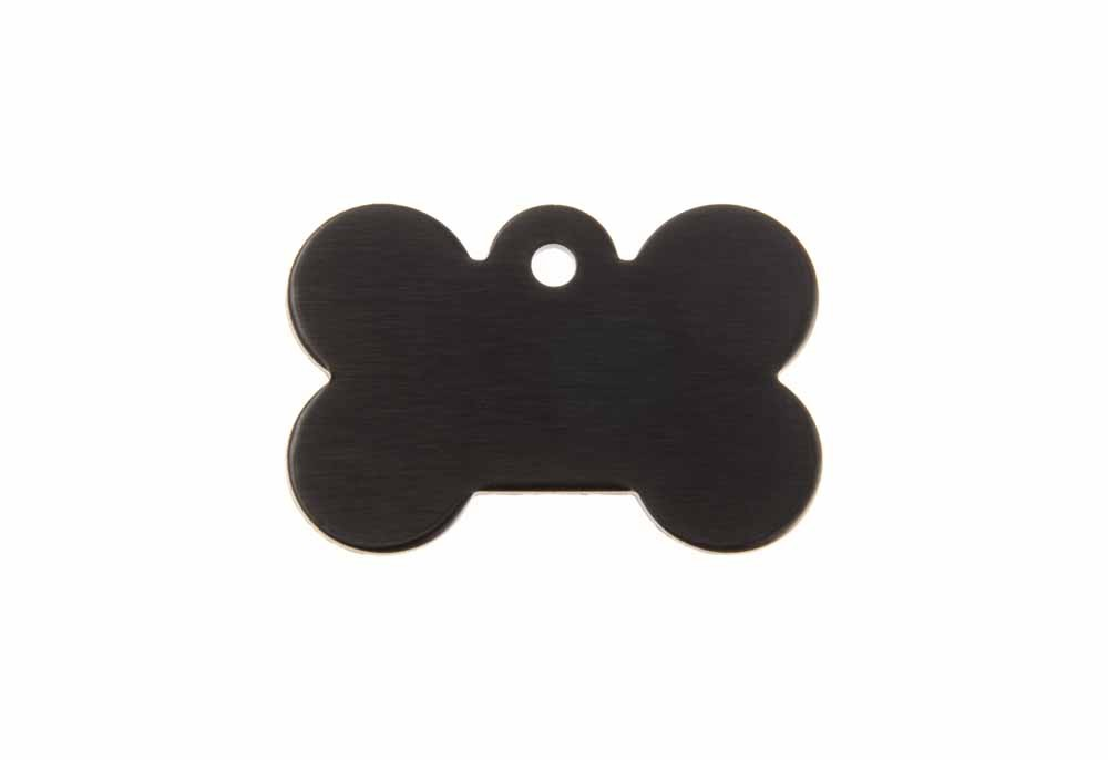 Aluminum Pet Tag, Bone, Black - Small 0.83'' x 1.2''