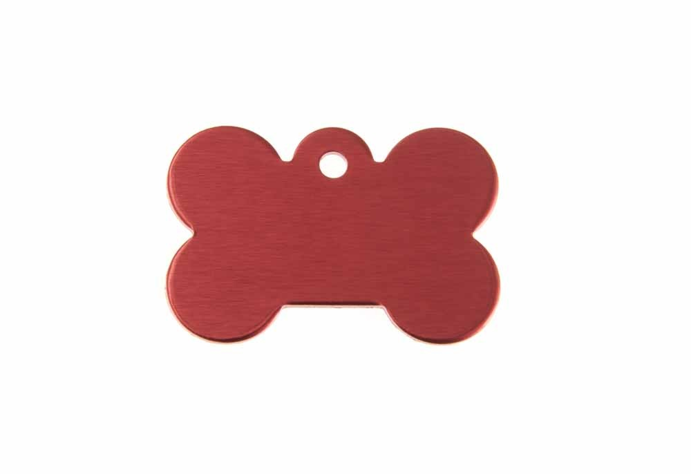 Aluminum Pet Tag, Bone, Red - Small 0.83'' x 1.2''