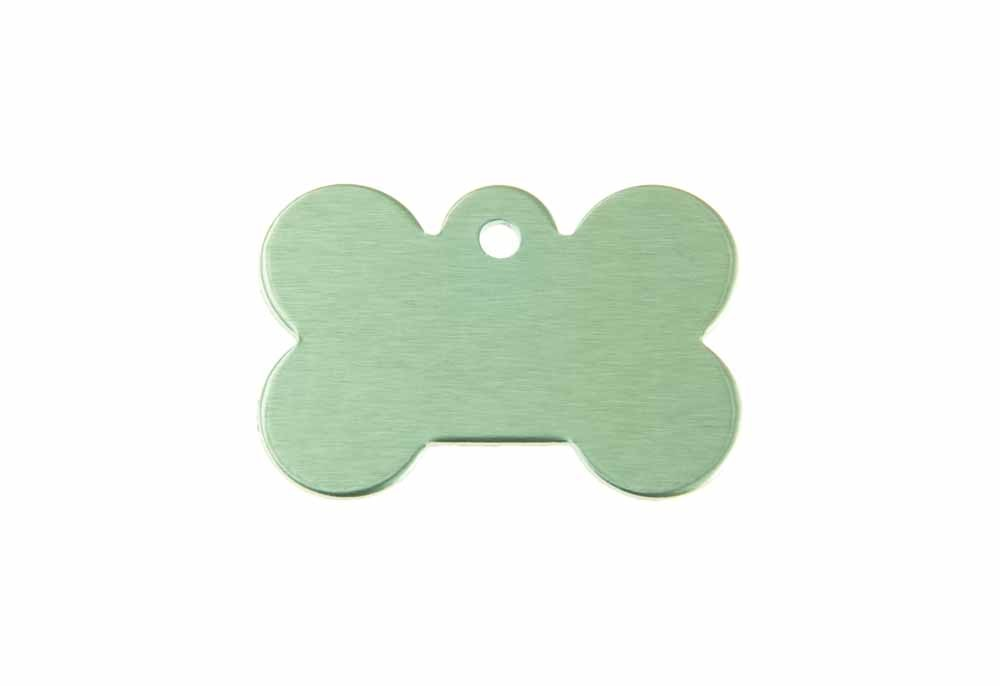 Aluminum Pet Tag, Bone, Green - Small 0.83'' x 1.2''