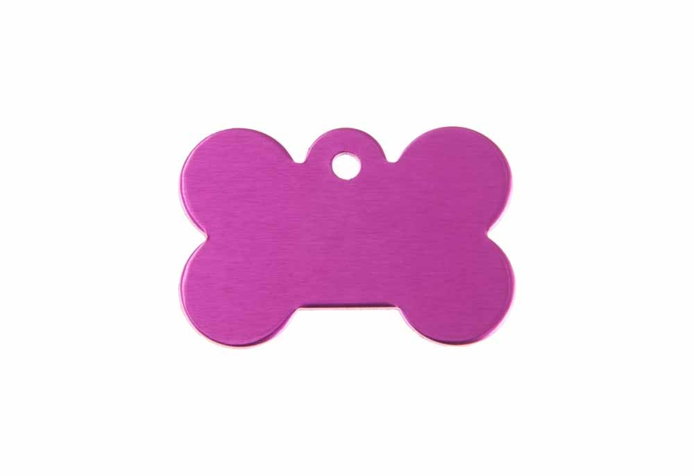 Aluminum Pet Tag, Bone, Pink - Small 0.83'' x 1.2''