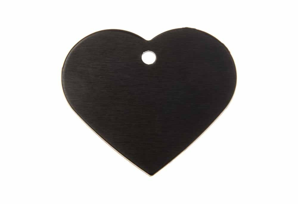 Aluminum Pet Tag, Heart, Black - Large 1.5'' x 1.3''