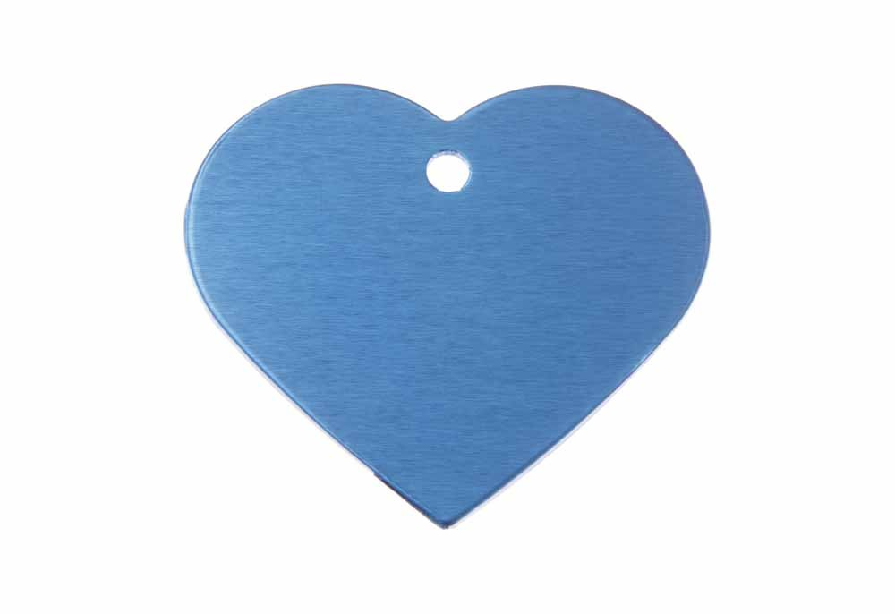 Aluminum Pet Tag, Heart, Blue - Large 1.5'' x 1.3''