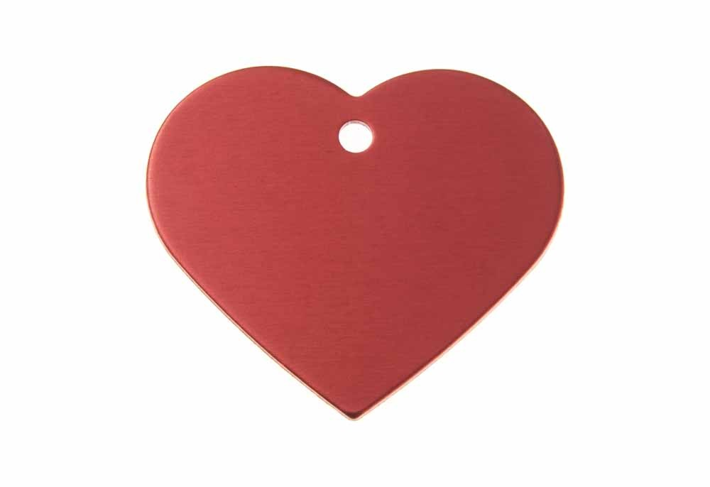 Aluminum Pet Tag, Heart, Red - Large 1.5'' x 1.3''
