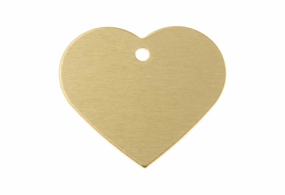 Aluminum Pet Tag, Heart, Gold - Large 1.5'' x 1.3''