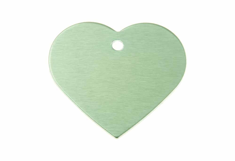 Aluminum Pet Tag, Heart, Green - Large 1.5'' x 1.3''