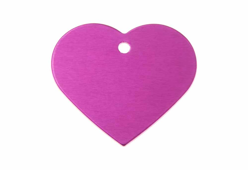 Aluminum Pet Tag, Heart, Pink - Large 1.5'' x 1.3''