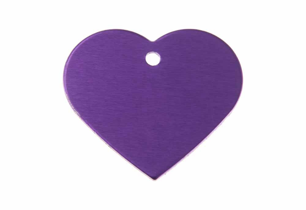 Aluminum Pet Tag, Heart, Purple - Large 1.5'' x 1.3''