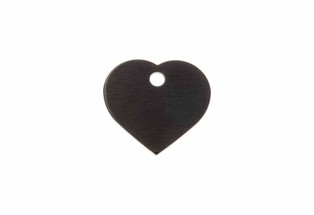 Aluminum Pet Tag, Heart, Black - Small 0.8'' x 0.87''