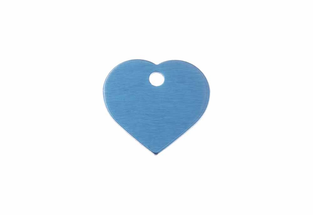 Aluminum Pet Tag, Heart, Blue - Small 0.8'' x 0.87''