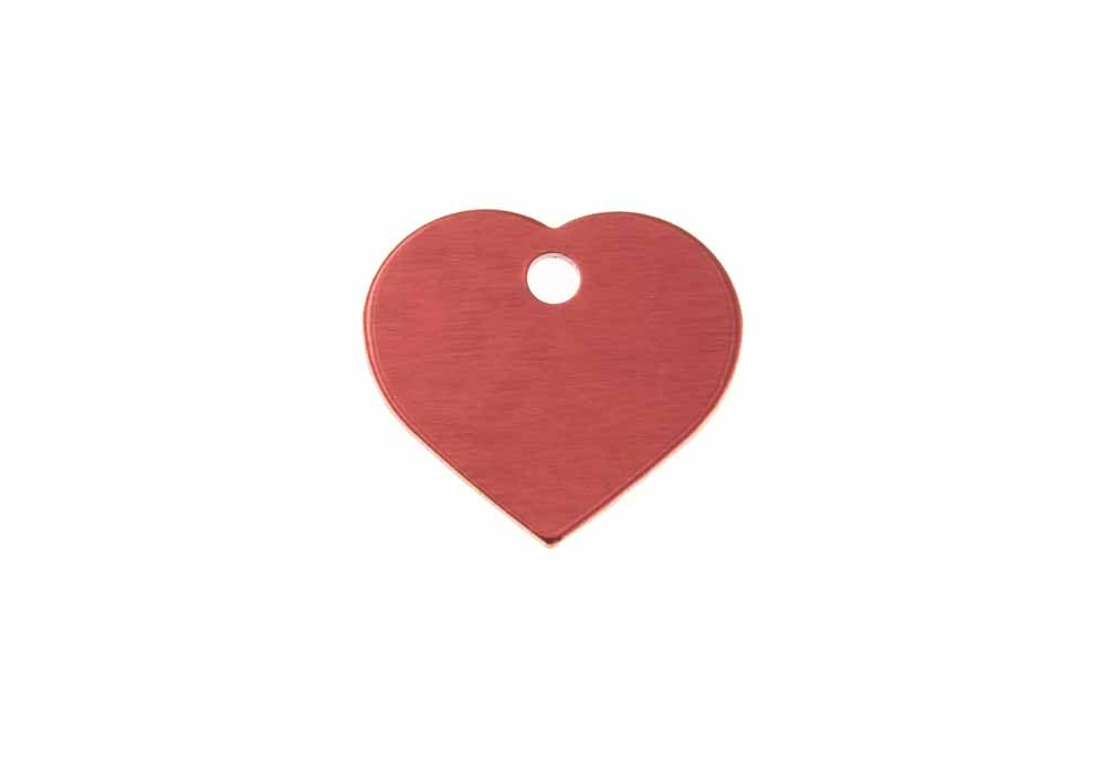 Aluminum Pet Tag, Heart, Red - Small 0.8'' x 0.87''