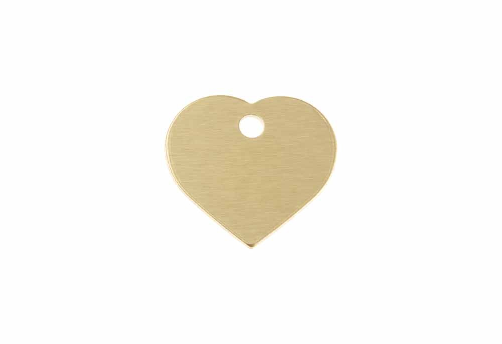 Aluminum Pet Tag, Heart, Gold - Small 0.8'' x 0.87''