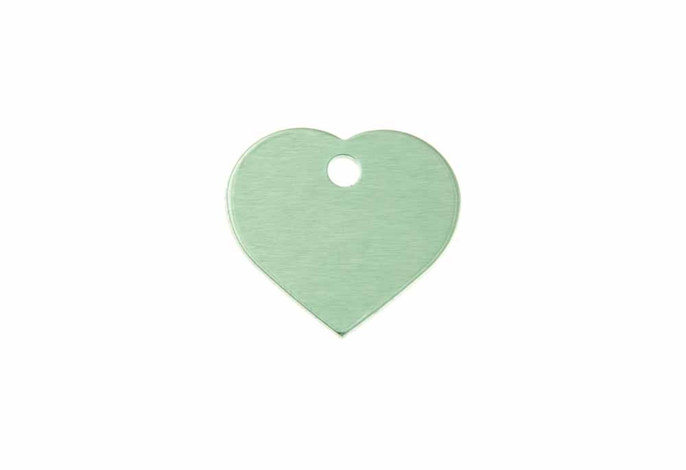 Aluminum Pet Tag, Heart, Green - Small 0.8'' x 0.87''