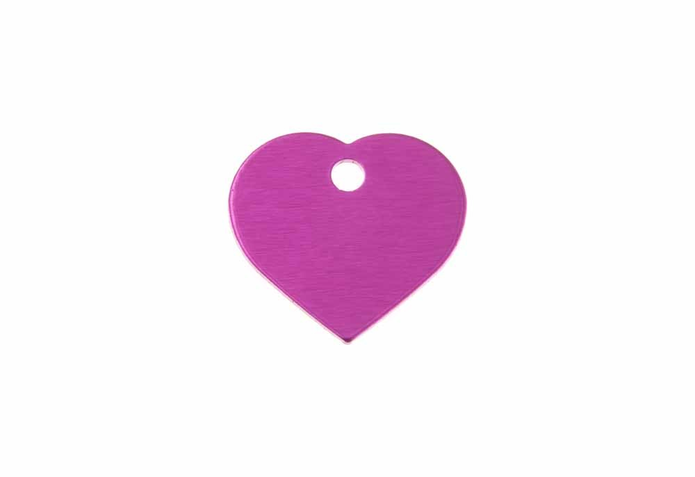 Aluminum Pet Tag, Heart, Pink - Small 0.8'' x 0.87''