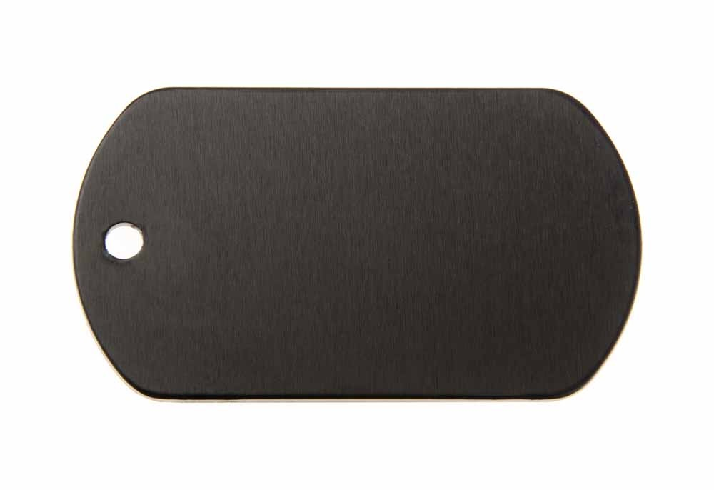 Aluminum Pet Tag, Military, Black - 2'' x 1.14''