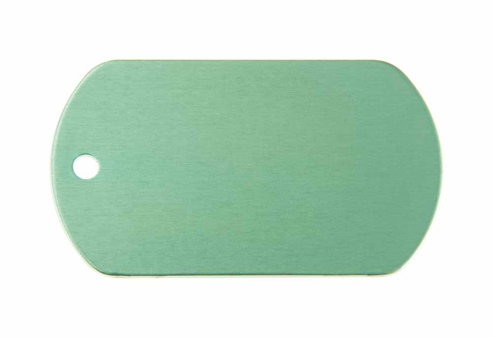 Aluminum Pet Tag, Military, Green - 2'' x 1.14''