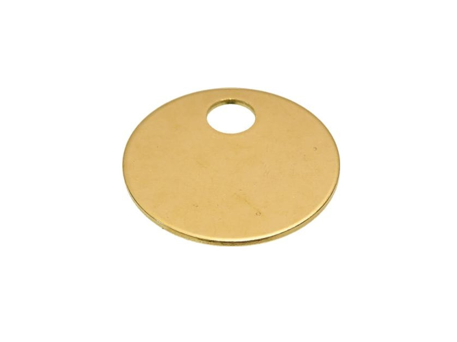 "1 3/8"" Brass Tags with Hole, 100/box"