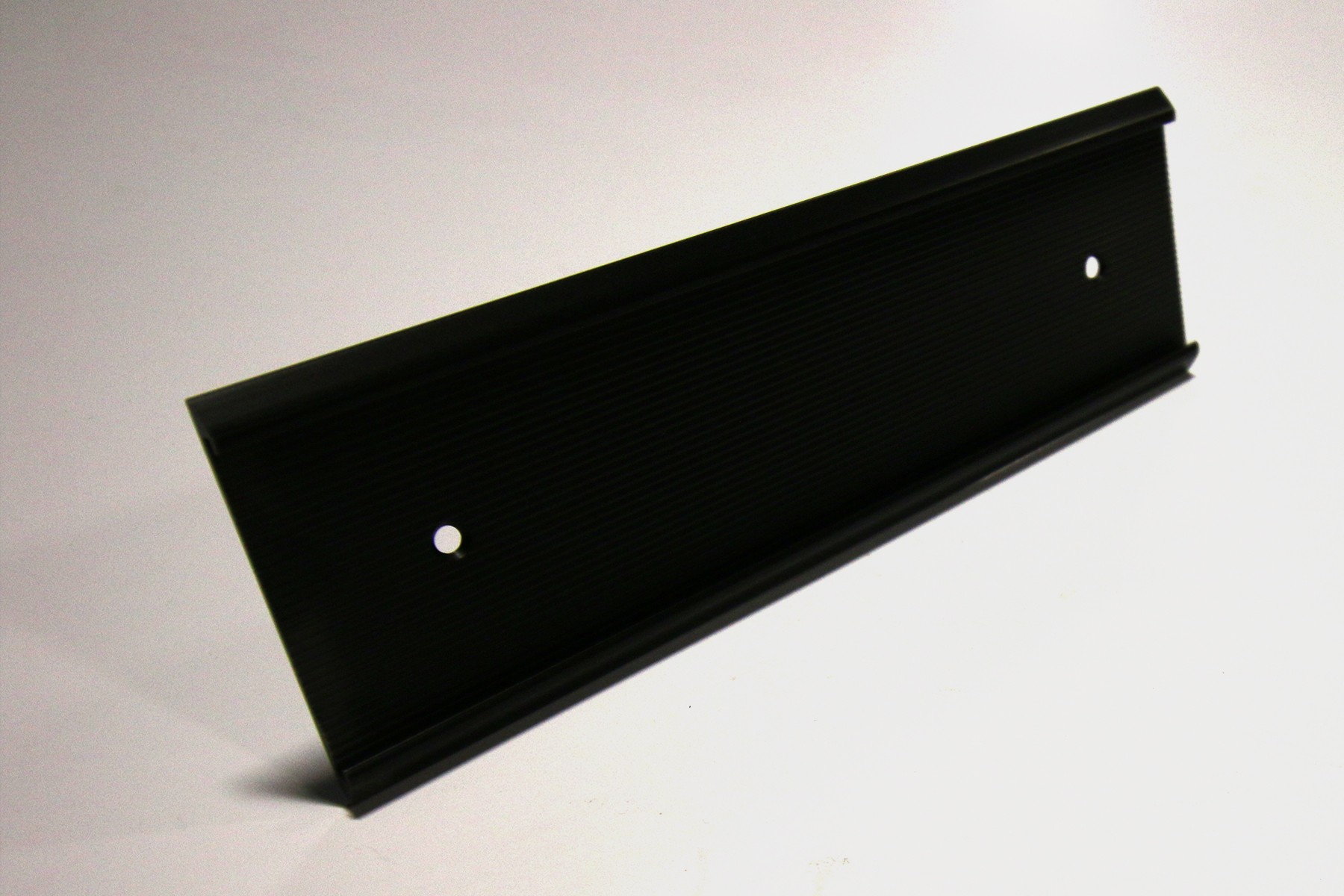 "2"" x 1/16"" x 10"" Ribbed Wall Holder, Black"
