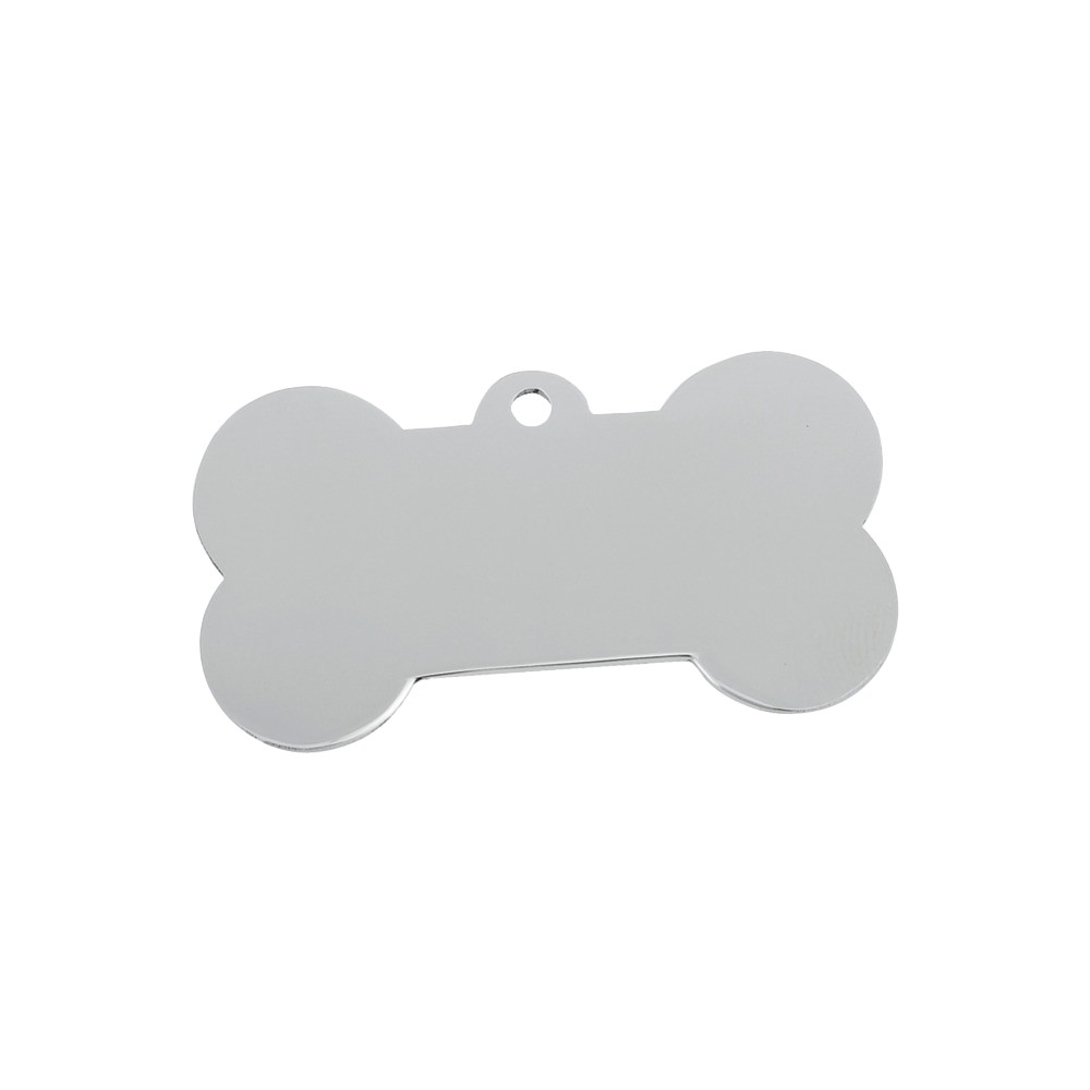 "Stainless Steel Pet Tag, Dog Bone, 1"" x 1 1/2"""