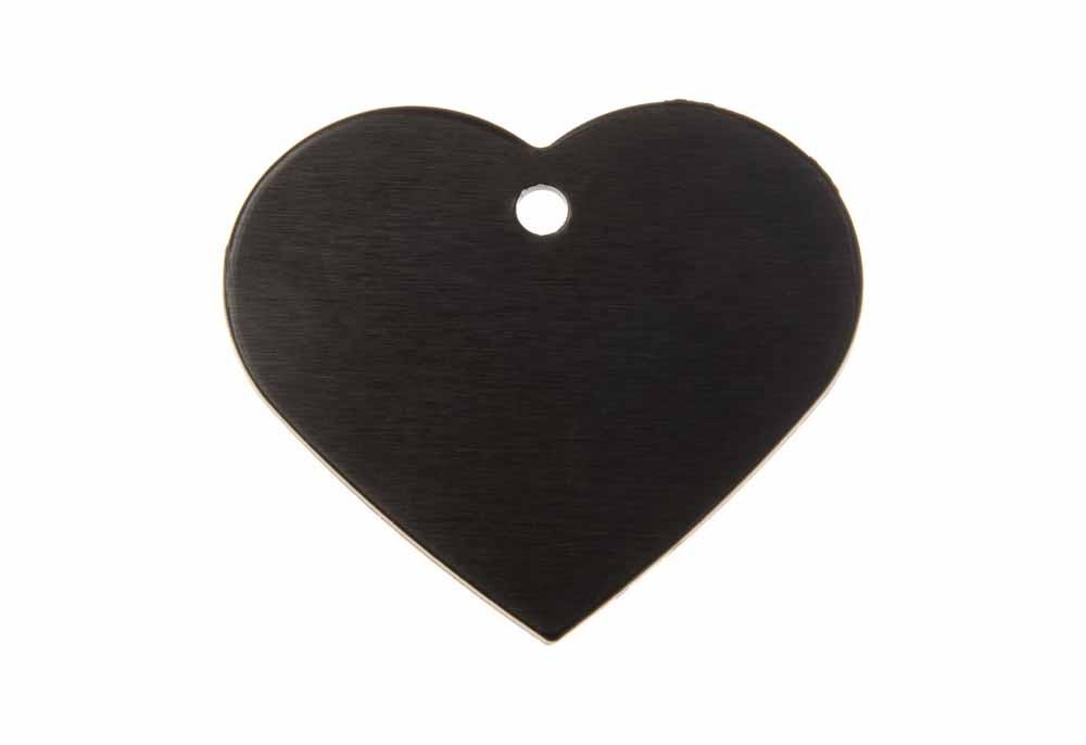 Corazón grande de aluminio negro 38x32mm