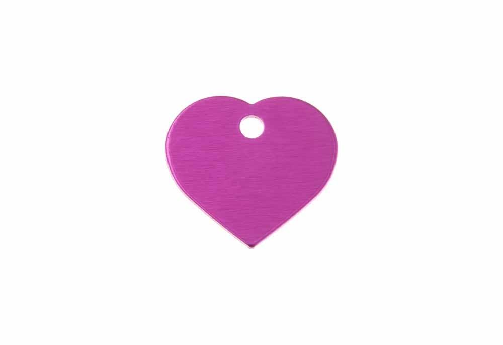Corazón pequeño de aluminio rosa 20x22mm, pack de 20