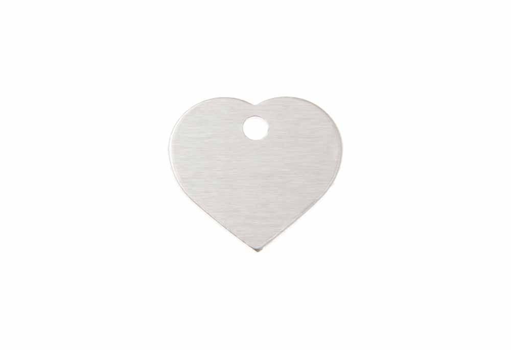 Corazón pequeño de aluminio plateado 20x22mm, pack de 20