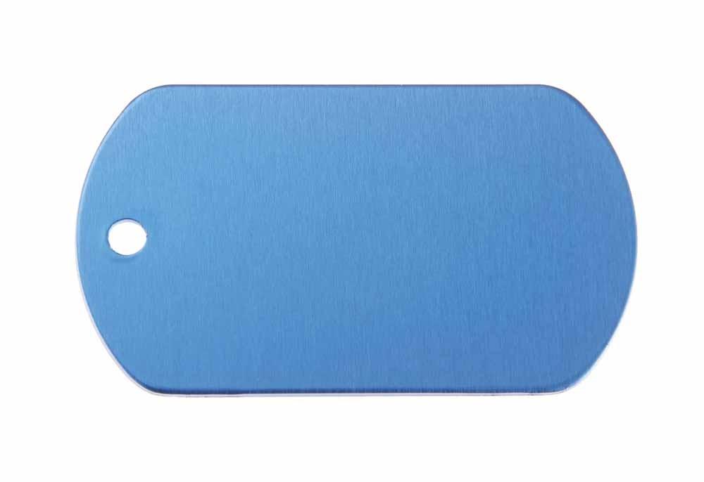 Chapa militar de aluminio azul 50x29mm, pack de 20
