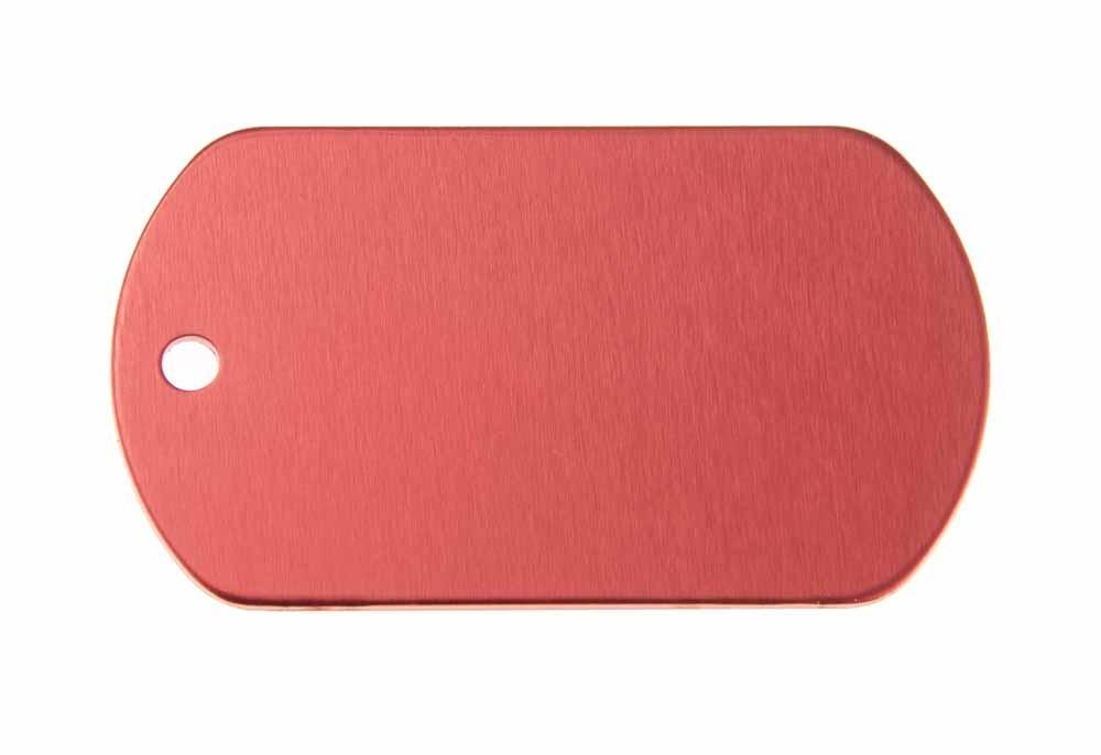 Chapa militar de aluminio roja 50x29mm, pack de 20