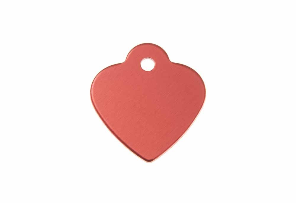 Heart shaped tag with loop anodised aluminium Red 25x26mm